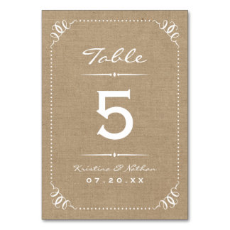 Burlap Rustic Chic Table Numbers Table Card
