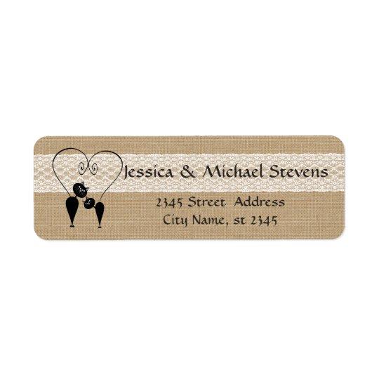 Burlap rustic funny cats in love wedding return address label