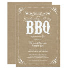 Burlap Rustic Graduation Party BBQ Invitation