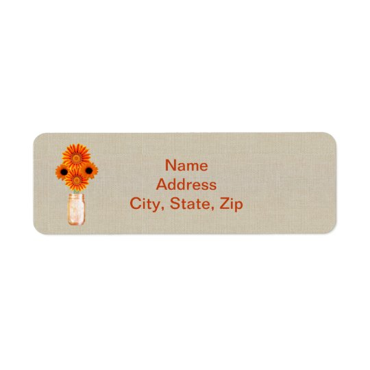 Burlap Rustic Orange Mason Jar Address Labels