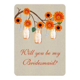 "Burlap Rustic Orange Mason Jars Bridesmaid Card 5"" X 7"" Invitation Card"