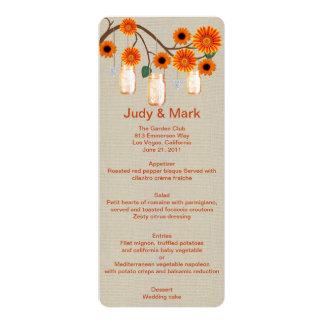 Burlap Rustic Orange Mason Jars Menu Card 10 Cm X 24 Cm Invitation Card