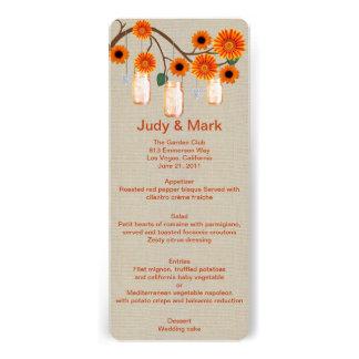Burlap Rustic Orange Mason Jars Menu Card