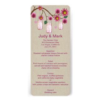 Burlap Rustic Pink Mason Jars Menu Card
