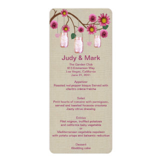 Burlap Rustic Pink Mason Jars Menu Card 10 Cm X 24 Cm Invitation Card