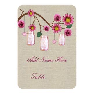 "Burlap Rustic Pink Mason Jars Table Place Card 3.5"" X 5"" Invitation Card"