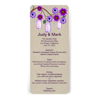 Burlap Rustic Purple Mason Jars Menu Card