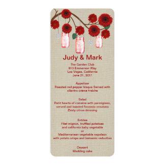 Burlap Rustic Red Mason Jars Menu Card 10 Cm X 24 Cm Invitation Card