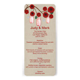 Burlap Rustic Red Mason Jars Menu Card