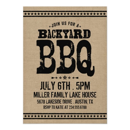 Burlap Rustic Retro Vintage Backyard BBQ Party Card
