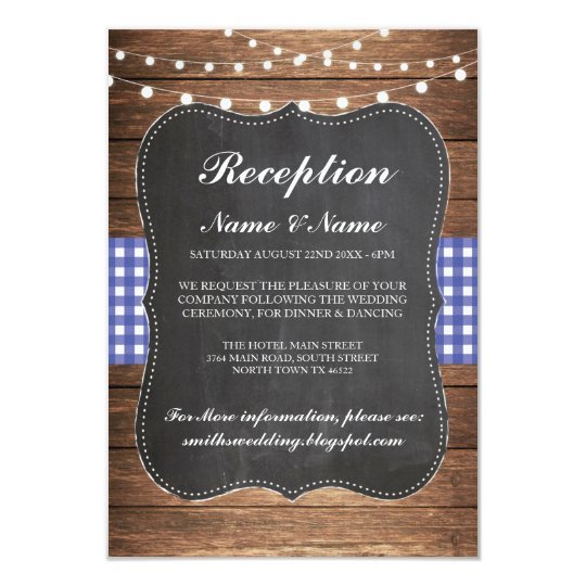 Burlap Rustic Wedding Reception Cards Wood Blue