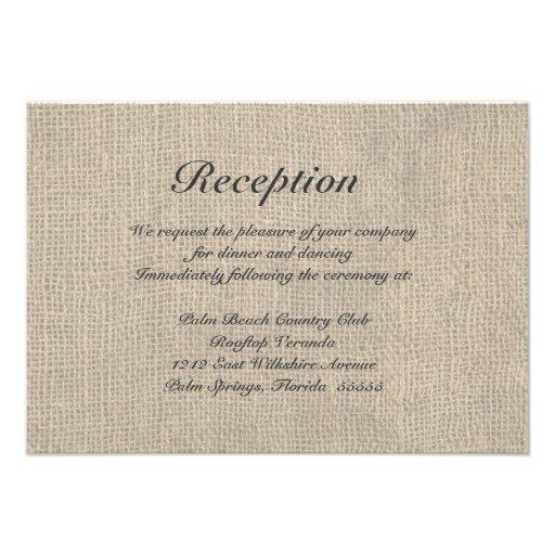 Burlap Rustic Wedding Reception Directions Card