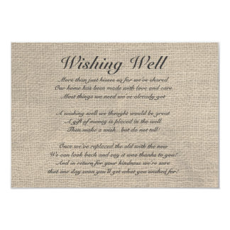 Burlap Rustic Wishing Well Card
