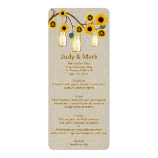 Burlap Rustic Yellow Mason Jars Menu Card 10 Cm X 24 Cm Invitation Card