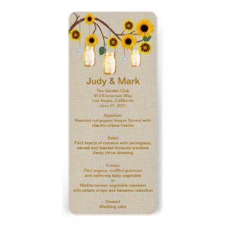 Burlap Rustic Yellow Mason Jars Menu Card