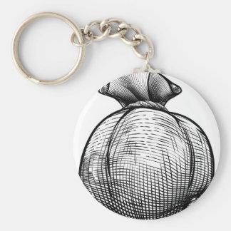 Burlap Sack or Money Bag Basic Round Button Key Ring
