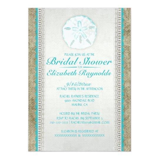 Burlap Sand Dollar Bridal Shower Invitations