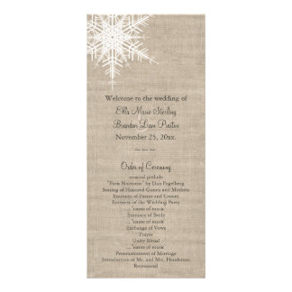 Burlap Snowflake Wedding Program Rack Cards
