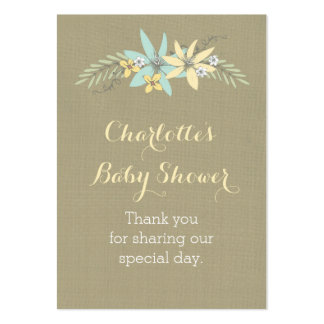 Burlap & Spring Flowers Baby Shower Favour Tags Pack Of Chubby Business Cards