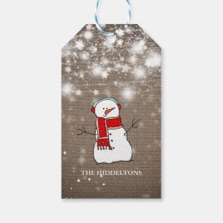 Burlap Stars Christmas Cute Snowman Script Holiday Gift Tags