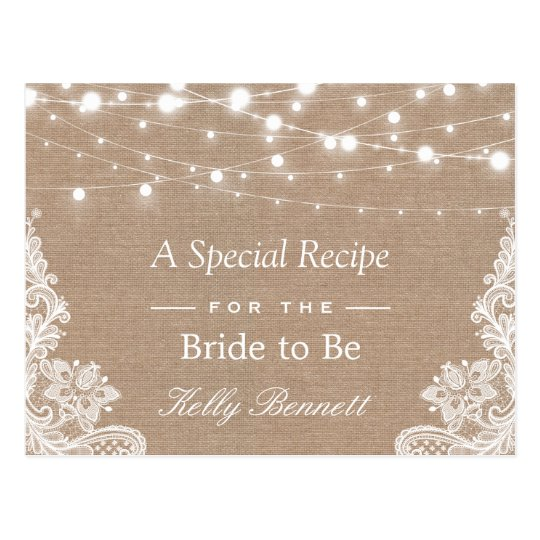 Burlap String Lights Lace Bridal Shower Recipe Postcard