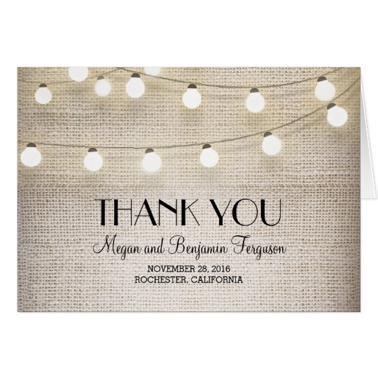 Burlap String Lights Rustic Wedding Thank You Card