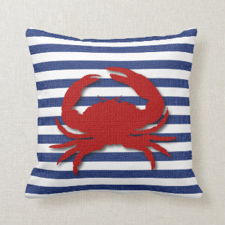 Burlap Stripe Print with Silhouette Red Crab Throw Cushions
