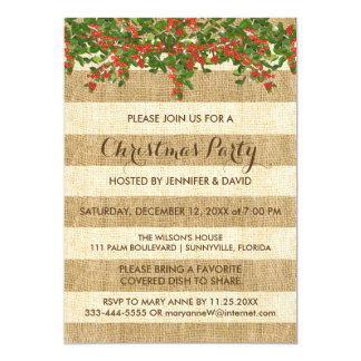 Burlap Stripes and Christmas Holly Party 13 Cm X 18 Cm Invitation Card