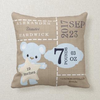 Burlap Teddy Bear Blue Birth Stats Keepsake Cushion
