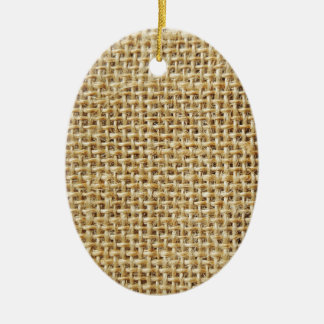 Burlap texture ceramic oval decoration