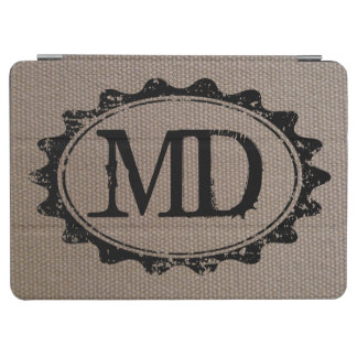Burlap texture monogrammed magnetic iPad air case iPad Air Cover