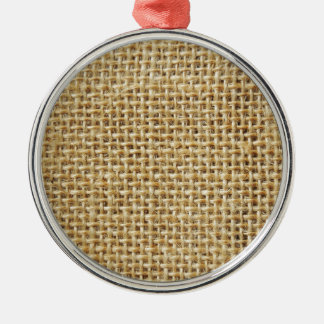 Burlap texture Silver-Colored round decoration