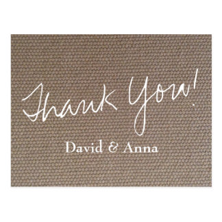 Burlap thank you postcard for country chic wedding