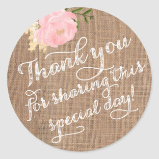 Burlap Thank You Stickers, Shabby Thank You favors Classic Round Sticker