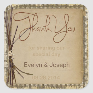 Burlap, Twigs and Twine Thank You Square Sticker