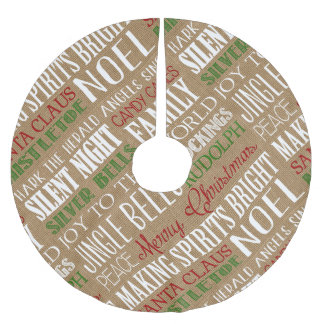 Burlap Typography Rustic Holiday Tree Skirt Brushed Polyester Tree Skirt