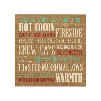 Burlap Typography Winter Wonderland Artwork Wood Wall Art