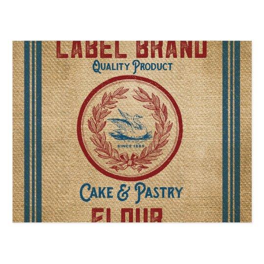 Burlap Vintage Cake Pastry Flour Sack Postcard