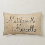 Burlap Vintage Personalize Wedding Names Date Pillows