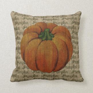 Burlap Vintage Pumpkin with Pumpkin Text Cushion