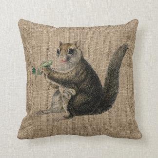 Burlap Vintage Squirrel Throw Cushion
