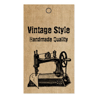Burlap Vintage Style Sewing Machine Tags Pack Of Standard Business Cards