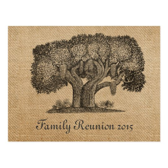 Burlap Vintage Tree Family Reunion Postcard