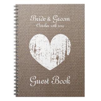 Burlap wedding guest book with rustic heart design spiral notebooks