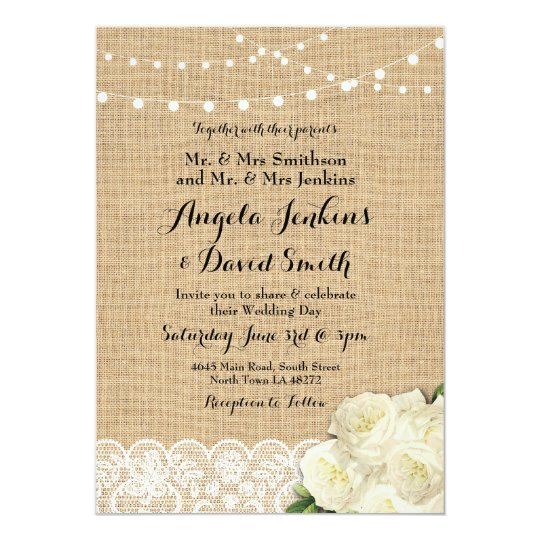 Burlap Wedding Lights Wood Lace Party Invitation