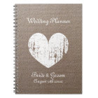 Burlap wedding planner organiser journal notebook