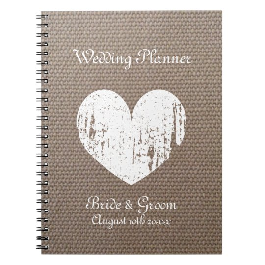 Burlap wedding planner organiser journal notebook