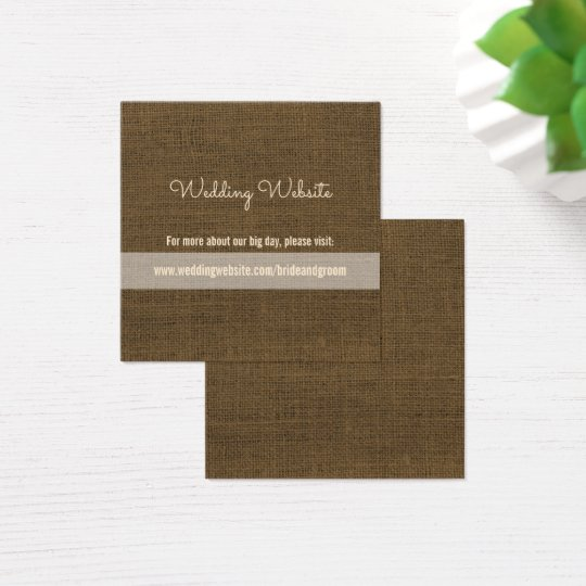 Burlap Wedding Website Cards | Rustic Wedding