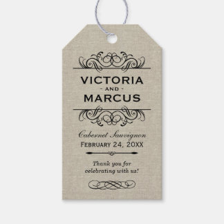 Burlap Wedding Wine Bottle Monogram Favor Tags