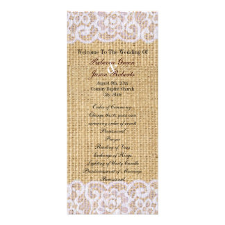 burlap white lace country rustic wedding program rack card